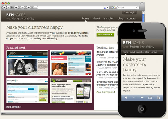 benhayes.com responsive web design layout shown at different screen sizes